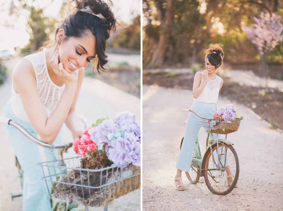 kelsea holder cute springtime shoot with vintage bike