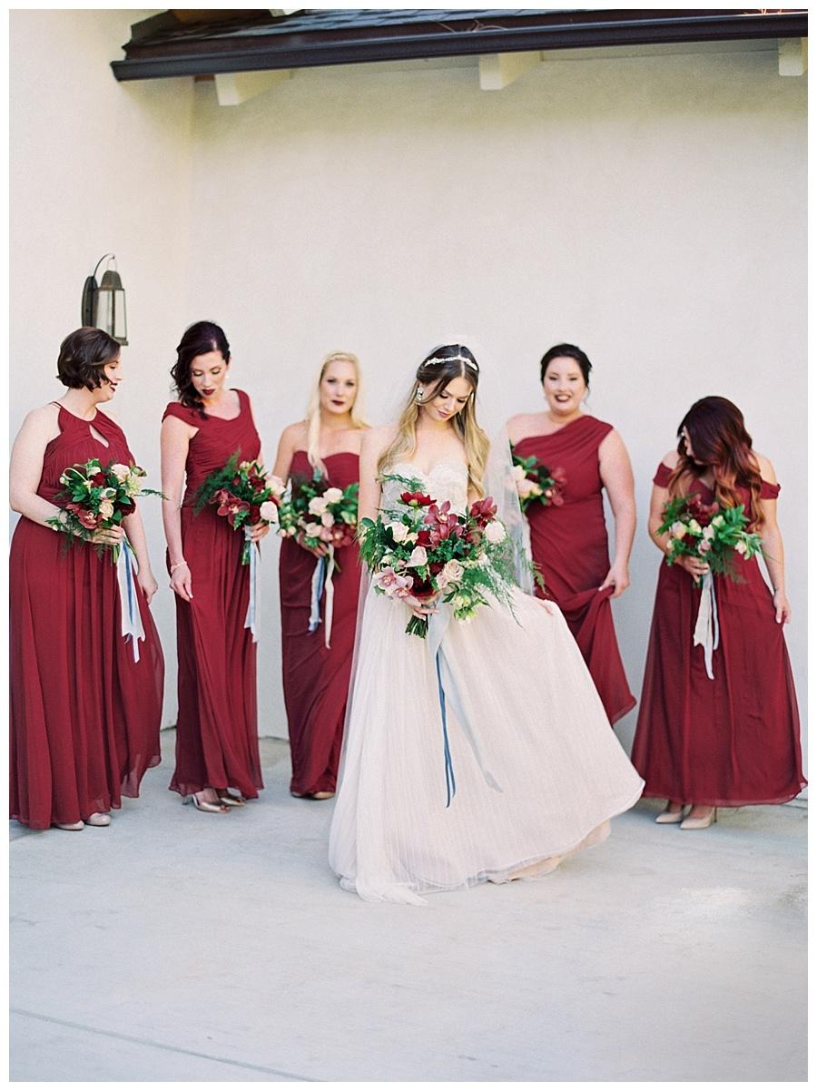 Red Bridesmaid Dresses, Greengate Ranch Wedding, Winter Wedding